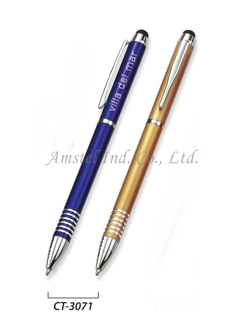 Aluminum 2 in 1 touch pen with ball pen